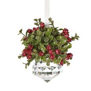 Kissing Krystal Christmas Mistletoe Ornament